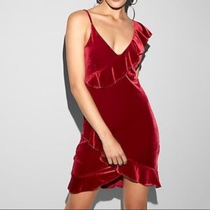 Red asymmetrical ruffle hi lo velvet mini dress